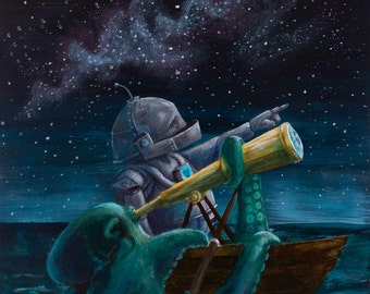 Star Gazer-Bot robot painting print