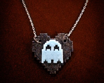 Pacman Ghost Heart Cameo Necklace