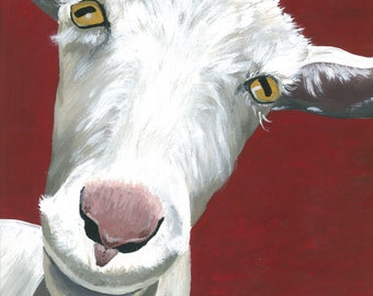 Goat decor, goat art. Goat print from original canvas painting.