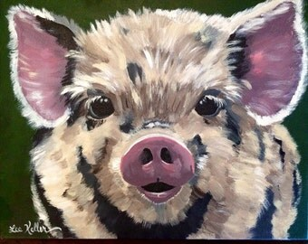 Pig art, pig print, pig art prints from original Pig on canvas painting. pig decor, Kune Kune pig art, cute pig art print