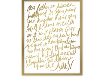 Scripture Art Poster, The Lord's Prayer, Christian Art, Typography Poster Print, Bible Verse, 5 sizes available