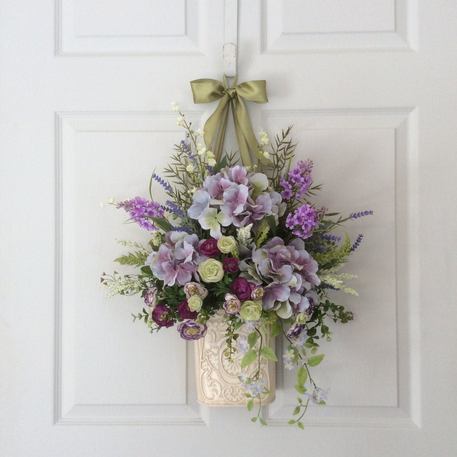 Front Door Baskets: Floral Door Basket-Hydrangea Wreath-Spring Floral