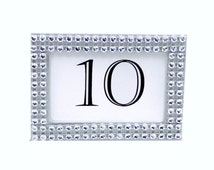 Rhinestone Table Numbers Custom Set of 5 Silver Centerpiece Picture Frames Party Decorations Placecards Favors Mini Frame W or W/O Glitter