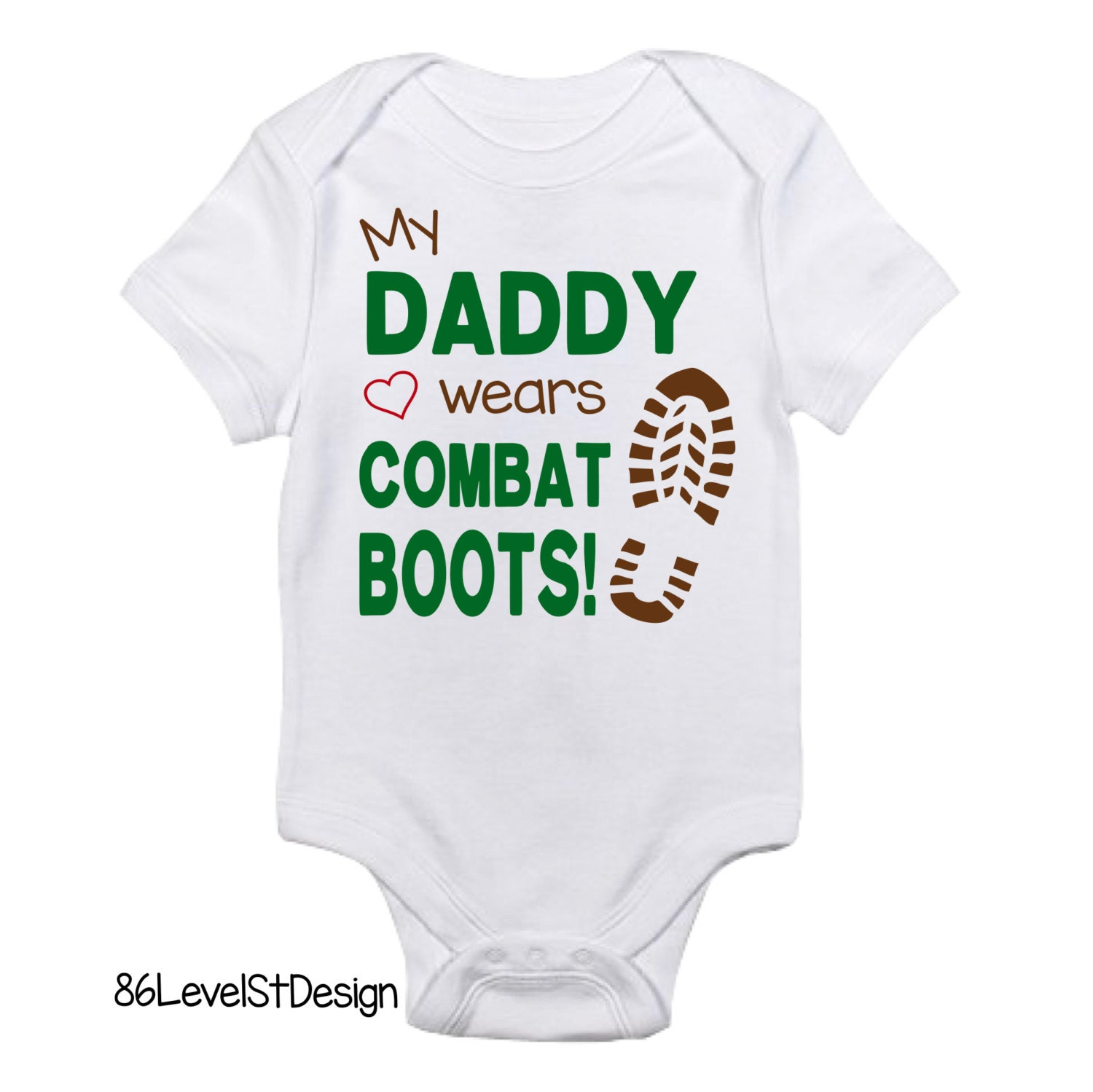 my daddy mommy wears combat boots onesie tshirt military