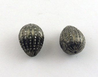 1 Pc Pave  Diamond Antique Finish Drop Bead Over 925 Sterling Silver 13mmx18mm PDC090