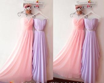 Blush Pink Bridesmaid Dress,Pink Bridesmaid Dress,Lilac Mermaid Long Chiffon Bridesmaid Prom Dress,Prom Dress, Long Pink Bridesmaid Dresses