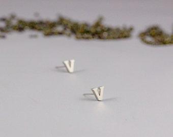 Alphabet Earrings, Alphabet Letter Initial Stud Earrings, Silver Initial Letter Stud Earrings, Letter Earrings, Silver Letter Stud Earrings