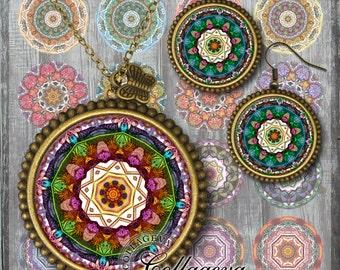 Mandalas, Kaleidoscopes, Digital Collage Sheet, 20, 18, 16, 14, 12 mm circles, printable images for earrings, rings, jewelry making (KM03-c)