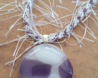 Fused Glass Cabochon Pendant on Kumihimo Braid Necklace