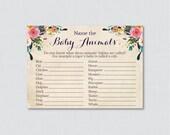 Floral Baby Animal Name G...