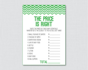 Green Baby Shower Price is Right Game - Printable Green Chevron Baby Shower Game Printable Download - Chevron Price is Right Game - 0017-R