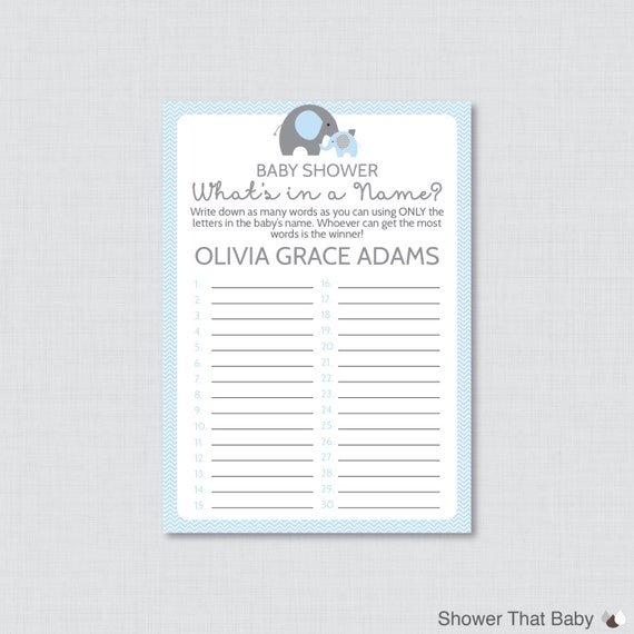 Elephant Baby Shower Name Game Printable What's In