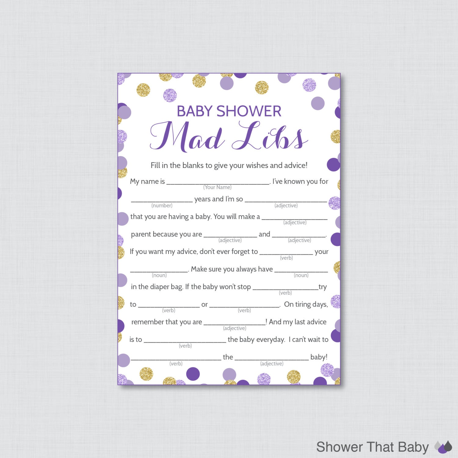 purple and gold baby shower mad libs printable baby shower