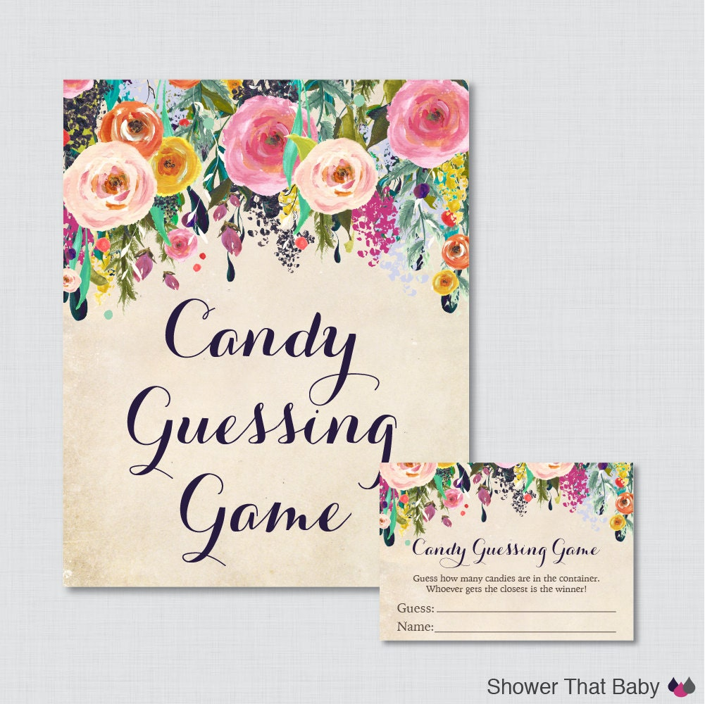 Candy Baby Shower Game: Floral Baby Shower Candy Guessing Game Printable Guess How