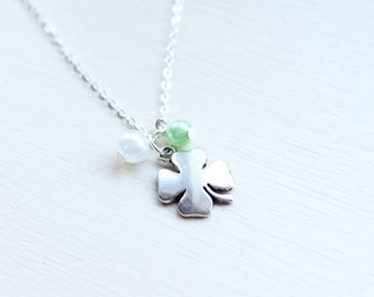 Lucky 4 Leaf Clover Charm Necklace - Four Leaf Clover Shamrock Necklace Lucky Wish Charm St Patricks Necklace Pendant