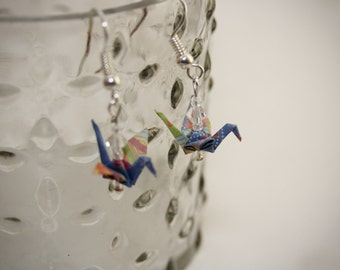 Chiyogami MICRO origami crane earrings made of Japanese paper and crystal beads