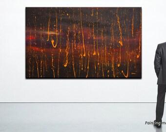 "Large Wall Art, XXL Original Abstract painting 71""x43"", Huge painting on canvas - ""Orange Rain"" by Jan Rasiewicz - Rasko"