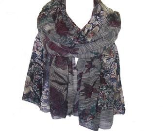 Grey color chiffon  scarf/dupatta/shawl/stole/indian scarf