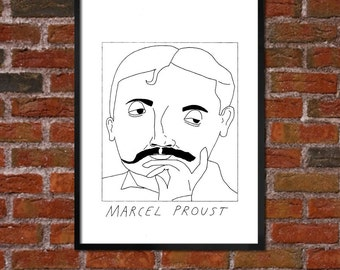 Badly Drawn Marcel Proust - Literary Poster - *** BUY 4, GET A 5th FREE***