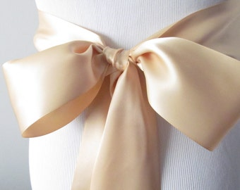Raw Silk Ribbon Sash / Double Faced Ribbon Sash / Bridal Sash / Bridal Ribbon / Raw Silk