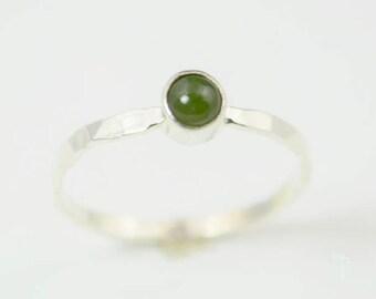 Silver Jade Ring, Green Ring, Jade Ring,Pure Silver Jade Ring, Jade Jewelry, Natural Jade, Stacking Ring, Gemstone Ring