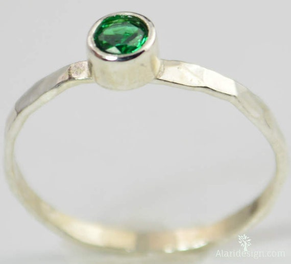 small emerald ring mothers ring hammered silver