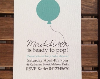 """Baby Shower """"ready to pop"""" party invitation"""