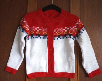 Vintage acrylic fair isle cardigan 1970s 1980s baby babies red white fairisle machine knitted Age 9 12 18 24 months 1 2 3 years Ex-Factory