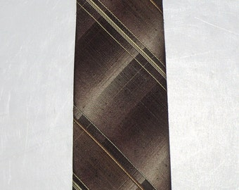 Wembley Wool Blend Necktie, Brown Tan Ombre Plaid, Skinny Tie, MCM Retro 1960's Fashion Accent, Fall Business Clothing Accessory, Men's Gift