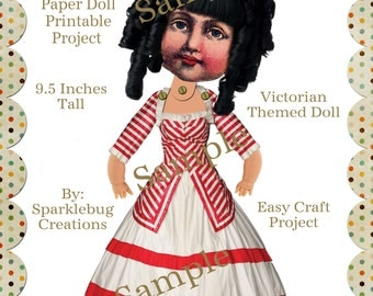 Victorian Paper Doll Articulated Craft Project Instant Download