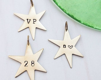 Custom Star Charm - Hand Stamped Personalized Stars - Initial Number tag - Letter Ornament - Wine Glass Label - Gold Rustic Brass