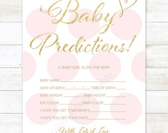 baby prediction card pink polka dots baby shower game DIY pink gold baby girl digital shower games - INSTANT DOWNLOAD