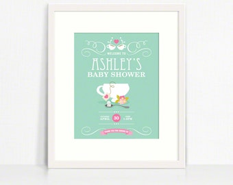 8x10 Garden Tea Party Personalized Welcome Sign for Baby Shower or Birthday – Printable 8x10 Sign by Squawk Box Studio
