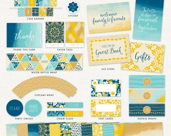 Bohemian Baby Shower Decorations – Baby Boy, Summer Breeze – Printable Party Kit by Squawk Box Studio