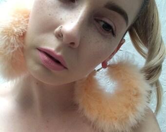 Handmade **Orange Sorbet** Marabou Feather fluffy large gold hoop earrings