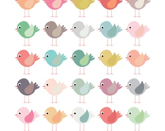 FREE COMMERICAL use 40% Off Clip Art Birds. Pastel Colours. Clip Art Scrapbooking Invitations Paper Goods Card Making. Instant Download