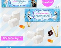 Do You Want To Build A Snowman, Frozen Favor, Bag Toppers, Disney Frozen Treat Bag Topper - Birthday Party Printable Olaf