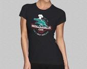 Ladies Jurassic World Mosasaurus Cafe T-Shirt - Womens Jurassic Park Mosasaur Marine Dinosaur Parody Shirt - Aquarium Girls Top - S M L XL