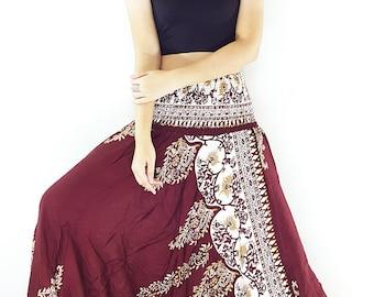 Women Harem Pants Yoga Pants Aladdin Pants Maxi Pants Baggy Pants Gypsy Pants Rayon Pants Jumpsuit Trouser Genie Pants Dark Red (HP161)
