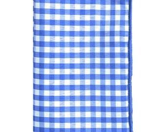 Royal Blue and White Gingham Pocket Square