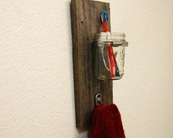 Reclaimed Wood Mason Jar Towel Hook. Bathroom. Rustic. Home. Shabby Chic