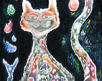 Brave Boy print, Fine Art Print, Cat Art, Cat Print, Cat Fine Art, Cat, Kitty, Cat Card, Cat Greeting Card, Colored Pencil Art, Pencil Art
