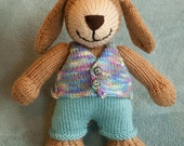 HANDKNIT PUPPY wearing vest and trousers