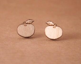 Laser cut wooden earrings - Apples earrings