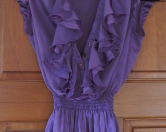 Vintage 1990's Purple Satin Cap Sleeved Ruffle Top UK Size 6/8 / US Size 2/4