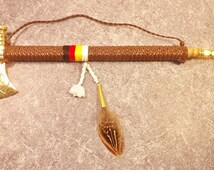 Tomahawk pipe braided leather wrap ped moon stone zuni bear native