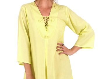 Cotton Beach Cover-Up with Zipper Pocket - Citrus