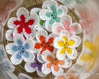 Crochet Mini Flowers - 10 Small Crochet Flower Appliques - Scrapbooking Flowers - Card Applique -  Hair Accessories Applique