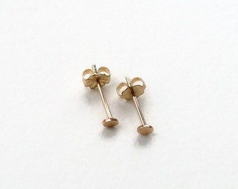 Teeny Tiny Dot Stud Earrings - 14k Gold Fill - 3mm Gold Post Earrings - Mix & Match With Ear Jackets