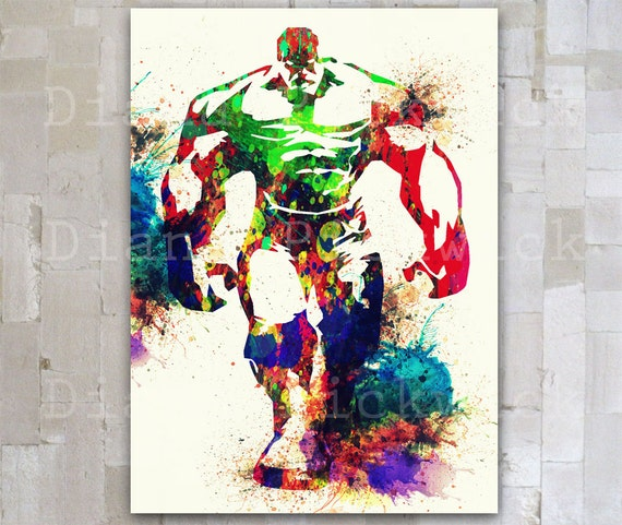 Avengers Watercolor: Hulk Print A3 Download Avengers Watercolor Poster The By